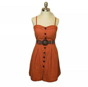 Poetry Button Down Dress with Belt sz Large